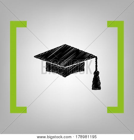 Mortar Board or Graduation Cap, Education symbol. Vector. Black scribble icon in citron brackets on grayish background.