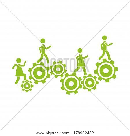monochrome background with people and industry progress vector illustration