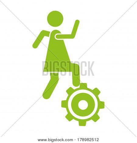 monochrome silhouette with woman over pinion vector illustration