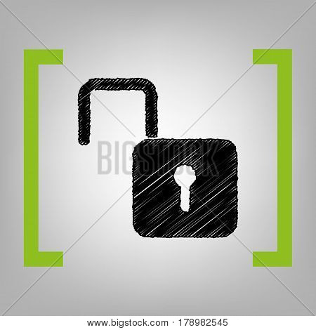 Unlock sign illustration. Vector. Black scribble icon in citron brackets on grayish background.