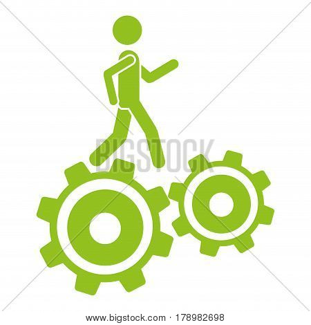 monochrome silhouette with man over two pinions vector illustration
