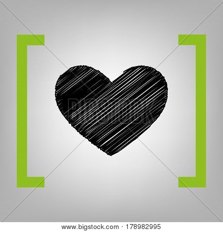 Tie sign. Vector. Black scribble icon in citron brackets on grayish background.