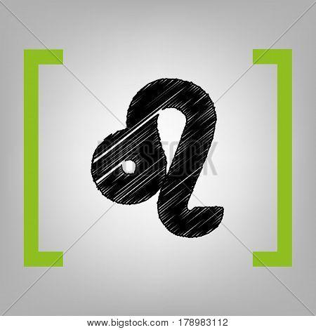 Leo sign illustration. Vector. Black scribble icon in citron brackets on grayish background.