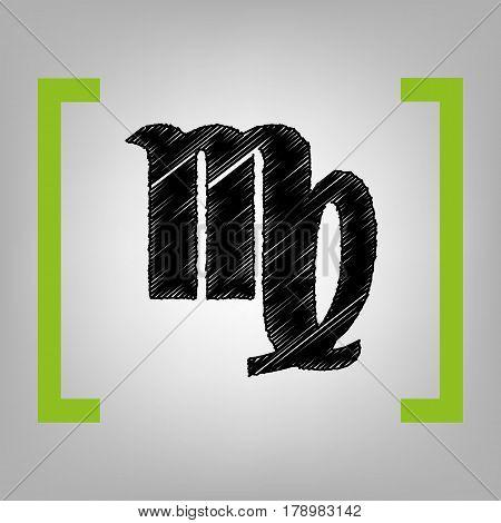 Virgo sign illustration. Vector. Black scribble icon in citron brackets on grayish background.