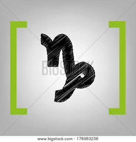 Capricorn sign illustration. Vector. Black scribble icon in citron brackets on grayish background.