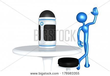 The Original 3D Character Illustration Walking Away From A Personal Assistant