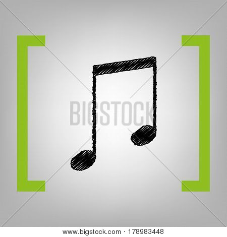 Music sign illustration. Vector. Black scribble icon in citron brackets on grayish background.