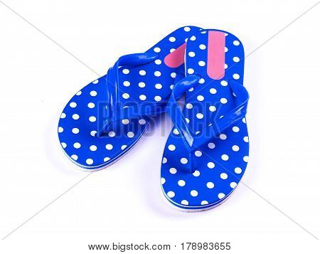 the summer fashion deep blue Flip Flop Sandals Isolated on White background