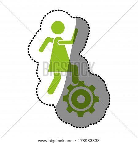 monochrome silhouette sticker with woman over pinion vector illustration