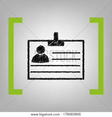 Id card sign. Vector. Black scribble icon in citron brackets on grayish background.