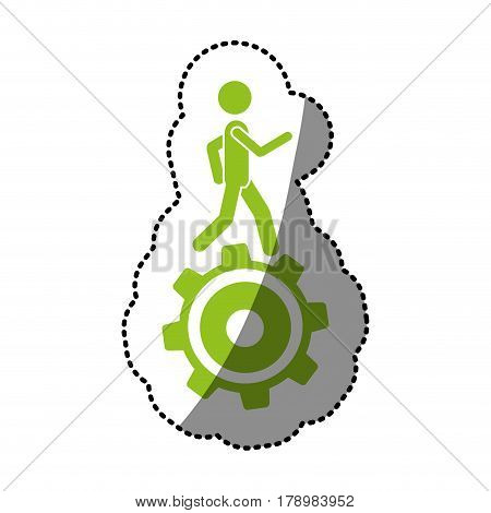 monochrome silhouette sticker with man over pinion vector illustration
