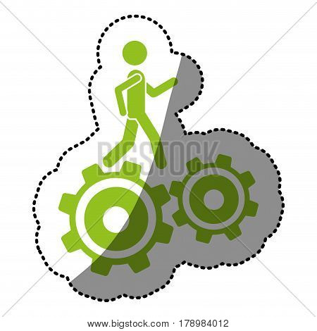 monochrome silhouette sticker with man over two pinions vector illustration