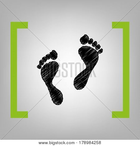 Foot prints sign. Vector. Black scribble icon in citron brackets on grayish background.