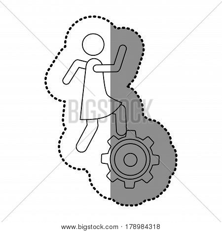monochrome contour sticker with woman over pinion vector illustration