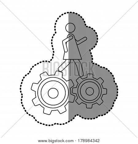 monochrome contour sticker with woman over two pinions vector illustration