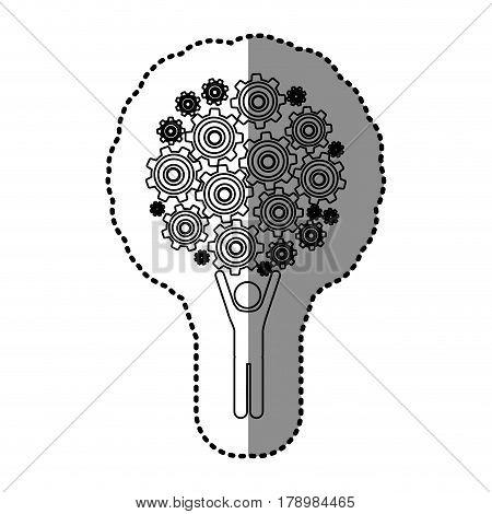 monochrome contour sticker of man holding up pinions set vector illustration