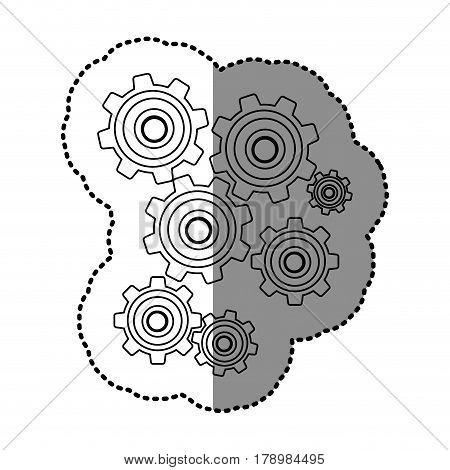 monochrome contour sticker with pinions set vector illustration