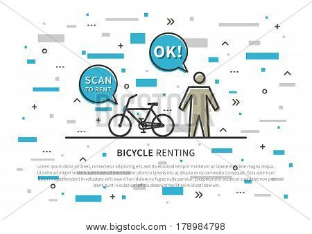 Bicycle renting vector illustration. Scan to rent bicycle creative concept. Bike for renting sharing graphic design.