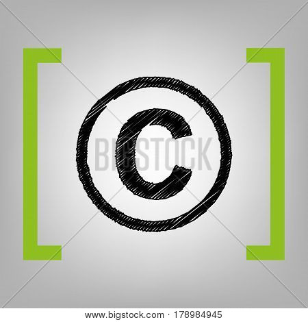Copyright sign illustration. Vector. Black scribble icon in citron brackets on grayish background.