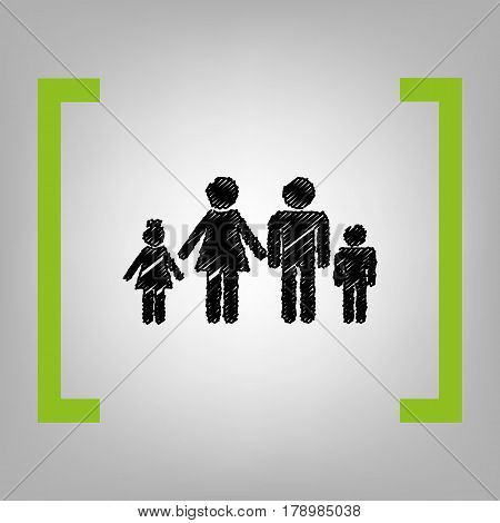 Family sign illustration. Vector. Black scribble icon in citron brackets on grayish background.