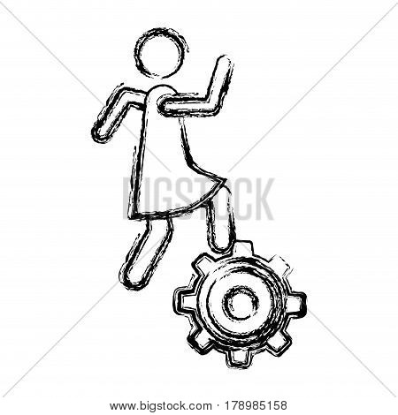 monochrome sketch of woman over pinion vector illustration