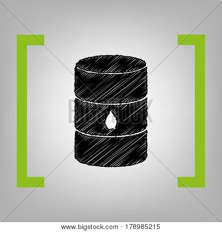 Oil barrel sign. Vector. Black scribble icon in citron brackets on grayish background.
