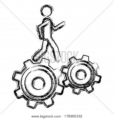 monochrome sketch of man over two pinions vector illustration