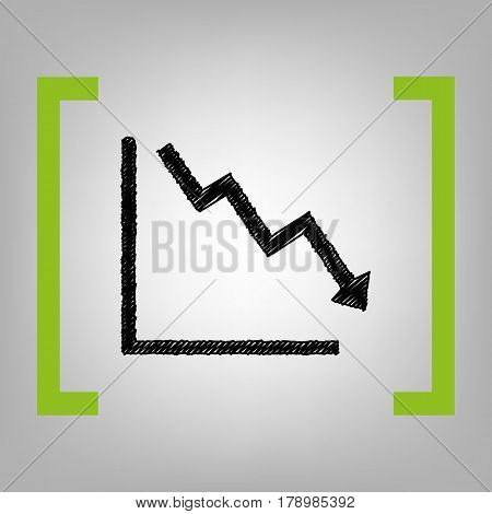 Arrow pointing downwards showing crisis. Vector. Black scribble icon in citron brackets on grayish background.