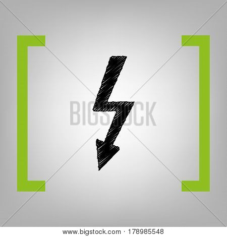 High voltage danger sign. Vector. Black scribble icon in citron brackets on grayish background.
