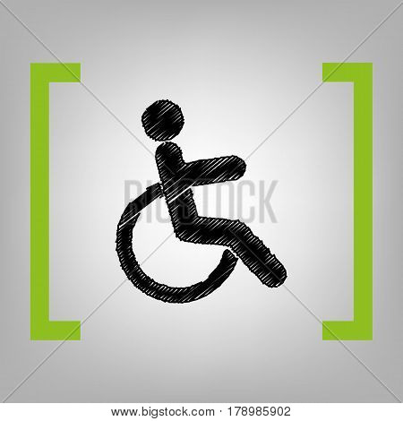 Disabled sign illustration. Vector. Black scribble icon in citron brackets on grayish background.