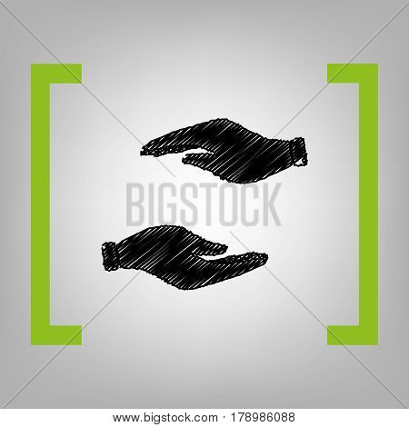 Hand sign illustration. Vector. Black scribble icon in citron brackets on grayish background.