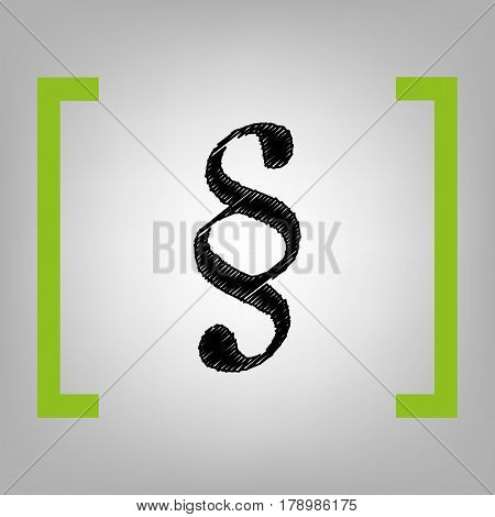 Paragraph sign illustration. Vector. Black scribble icon in citron brackets on grayish background.