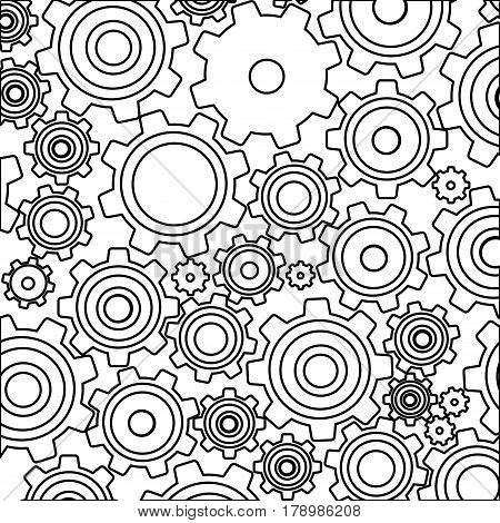 monochrome background with pattern of pinions vector illustration
