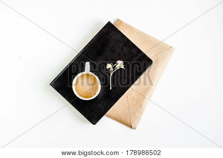 author office with cup in professional writer concept on white work desk background top view mock up