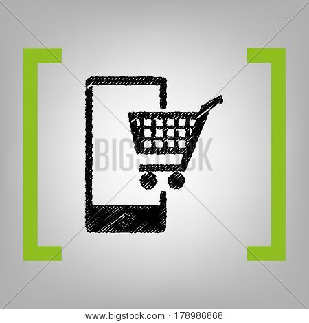Shopping on smart phone sign. Vector. Black scribble icon in citron brackets on grayish background.