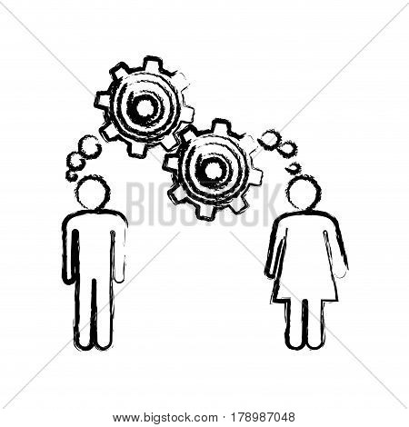 sketch of man and woman with thought in a pinions vector illustration