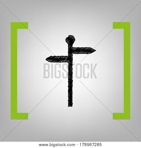 Direction road sign. Vector. Black scribble icon in citron brackets on grayish background.