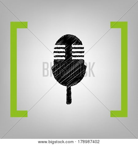 Retro microphone sign. Vector. Black scribble icon in citron brackets on grayish background.