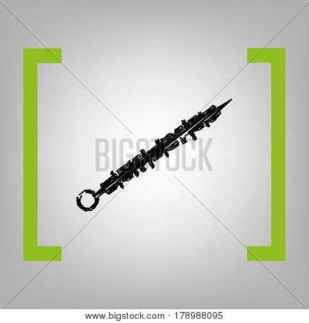 Shish kebab on skewers sign. Vector. Black scribble icon in citron brackets on grayish background.