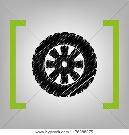 Road tire sign. Vector. Black scribble icon in citron brackets on grayish background.