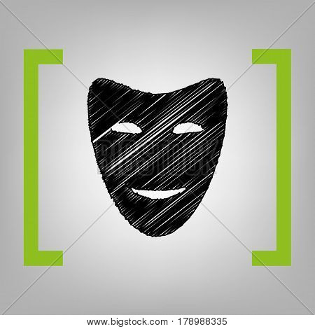 Comedy theatrical masks. Vector. Black scribble icon in citron brackets on grayish background.