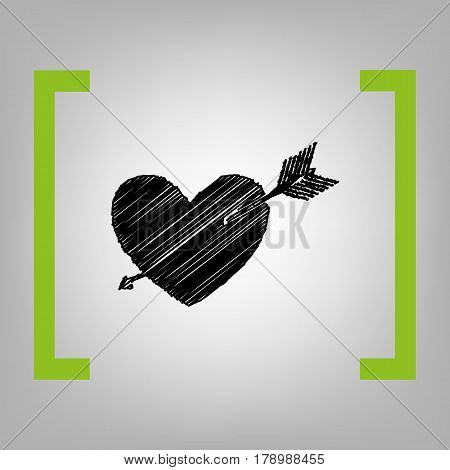 Arrow heart sign. Vector. Black scribble icon in citron brackets on grayish background.