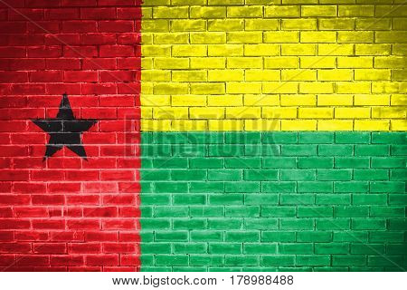 Guinea Bissau flag , Guinea Bissau flag on wall texture background
