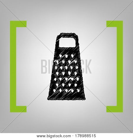 Cheese grater sign. Vector. Black scribble icon in citron brackets on grayish background.