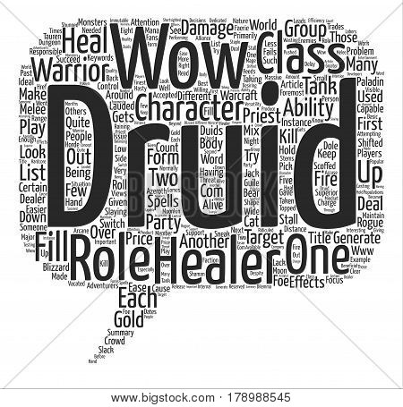 Role of The Druid WOW text background word cloud concept