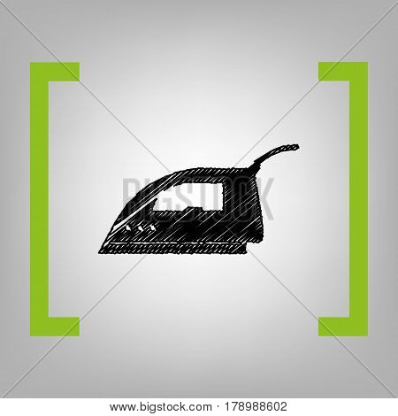 Smoothing Iron sign. Vector. Black scribble icon in citron brackets on grayish background.