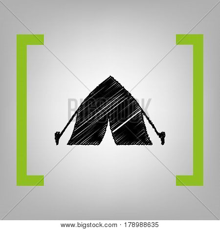 Tourist tent sign. Vector. Black scribble icon in citron brackets on grayish background.