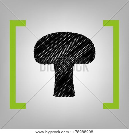 Mushroom simple sign. Vector. Black scribble icon in citron brackets on grayish background.