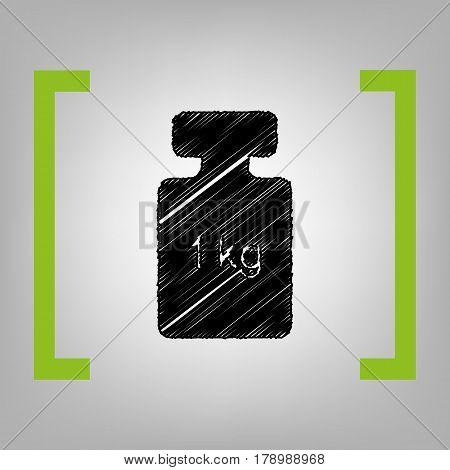 Weight simple sign. Vector. Black scribble icon in citron brackets on grayish background.