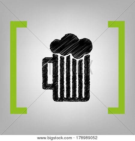 Glass of beer sign. Vector. Black scribble icon in citron brackets on grayish background.